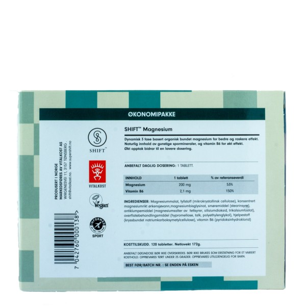 SHIFT SuperMagnesium, 120 tabletter