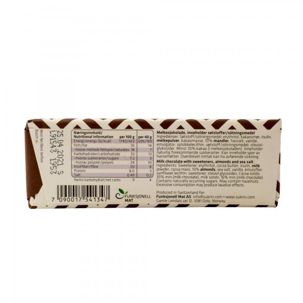 SUKRIN melkesjokolade m/mandler og havsalt 40g