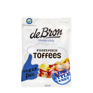 DeBRON Fruitjuice Toffees sugar free, 90g