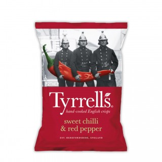 TYRRELL's sweet chilli & red pepper chips 150 gram