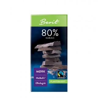 BERIT melkefri 80% mørk sjokolade, 80g